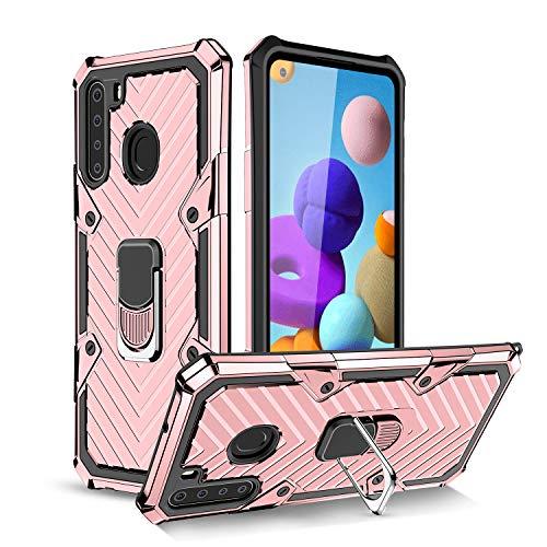 UCASE Funda Compatible para Samsung Galaxy A21 Carcasa Case Soporte de Anillo Metal PC Rígido+TPU Soft Anti-caída Dactilares Magnética Cover[New Upgrade] Oro Rosa
