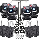 American DJ 3 Sixty 4R Dual Moving Head Lights (4) with DMX Cables (4), Arriba Rolling Bags (4), Heavy Duty C-Clamps (4), 44 Inch Safety Cables (4) & Adjustable Tripod Stands with T-Bars (2)