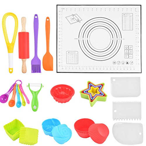 WOWOSS Kids Cooking and Baking Set 33 Pcs Kitchen Combo Kit, Nonstick Rolling Pin, Silicone Pastry Mat, Silicone Cake Molds Cups, Real Kitchen Utensils Kit for Toddlers Teens, Gift for Girls & Boys
