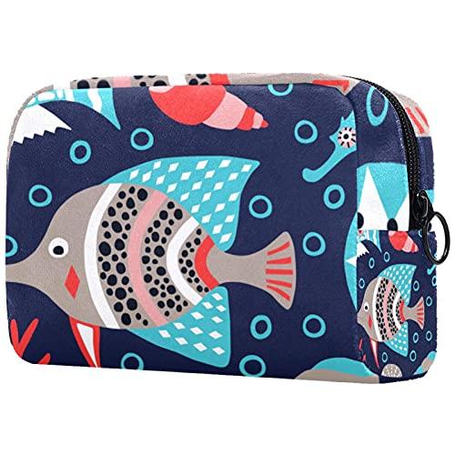 Bolsa de cosméticos Bolsa de Maquillaje Bolsa de cosméticos de Viaje, Bolso de Mano, Bolso de baño,pez de mar y Burbuja