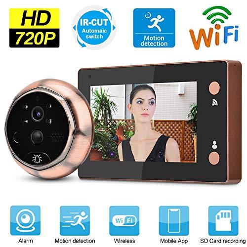 Visor de Puerta Digital, 4.3 Pulgadas 720P HD WiFi Visor de Mirilla de Puerta Timbre Visual Inteligente Videoportero de Puerta con detección de Movimiento/visión Nocturna para Seguridad en el hogar
