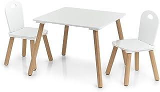 comprar comparacion Zeller Scandi-Juego de Muebles Infantiles (3 Piezas), Pino, Tisch: 55x55x43,5 cm Stuhl: 28x28x50 cm