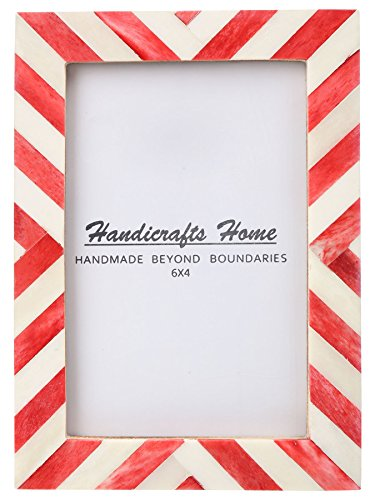 Handicrafts Home 4x6 Picture Photo Frame Chevron Herringbone Art Inspired Vintage Wall Décor Gift Frames [4x6 RED]