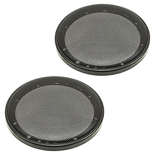 tomzz Audio 2800-002 Lautsprecher Gitter Grill für 165mm DIN Lautsprecher, schwarz, 2-teilig Kunststoffring mit Metallgitter, Satz