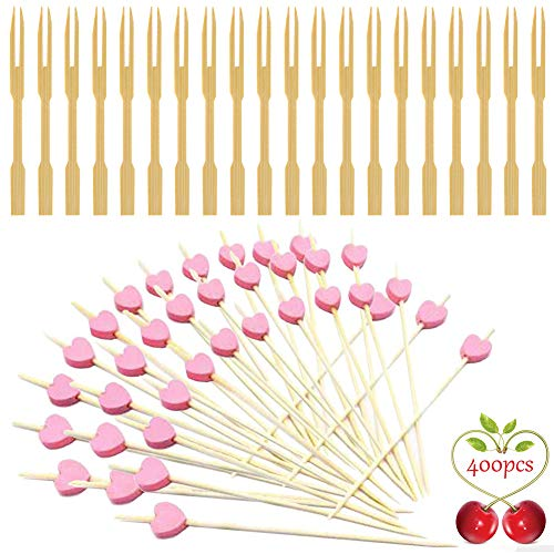 8,9 cm Bambusgabeln, 11,9 cm Bambus-Spieße,. Hochwertige BBQ-Sticks - zum Kochen, Feiern, Grillen geeignet. (300 + 100 Stück).