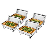 Sulida - Juego de 4 platos de acero inoxidable para calentar alimentos con 8,5 soportes de combustible para catering, buffet, bandeja de comedor 4 unidades Plateado 1.