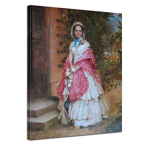 Wandbild Adolph von Menzel Frau Clara Schmidt von Knobelsdorff - 50x70cm hochkant - Alte Meister Berühmte Gemälde Leinwandbild Kunstdruck Bild auf Leinwand