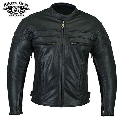 Sturgis (Monza Naked Rindsleder CE und belüftet Motorrad Jacke schwarz schwarz XL