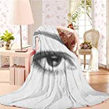 alisoso 60' W x 91' L Eyelash Microfiber Throw Blanket Comfortable and Warm Beach Blanket 3D Style Illustration of Eye with Dots on White Background Retro Haltone Effect Black White