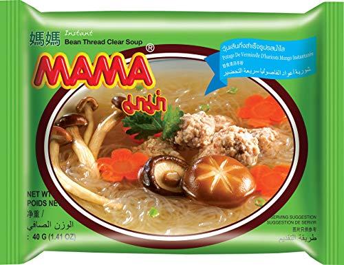MAMA Instantglasnudeln klare Suppe – Leckeres Schnellgericht orientalischer Art – Authentisch thailändisch kochen – 30 x 40 g