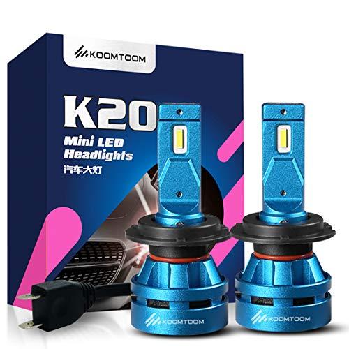 Koomtoom 5000K LED mini H7 fari lampadine lampadina kits- CREE chips Ture 360 ° fascio luminoso 8000LM (2 x 4000LM) 55 W (2 x 27.5 W) – anno di garanzia