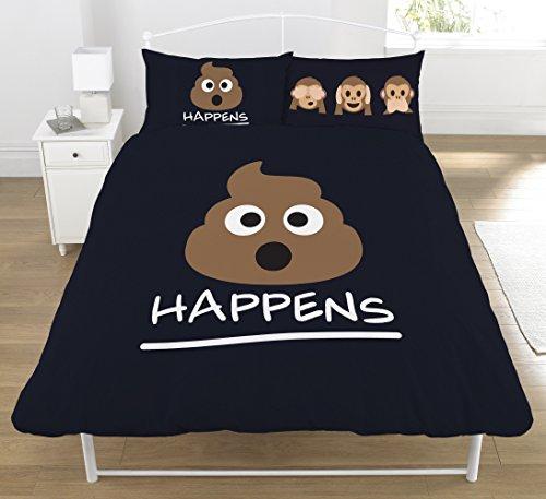 Mierda Happens diseño único/doble Reversible funda de edredón juego de cama, 50% algodón/50% poliéster, negro, Double Duvet Cover