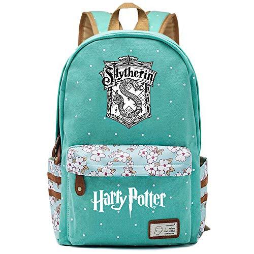NYLY Dot Floral School Bag, Ragazza impermeabile Soft Bag Boy Leggero Laptop Backpack Slytherin College Borsa da pranzo Grande S-5