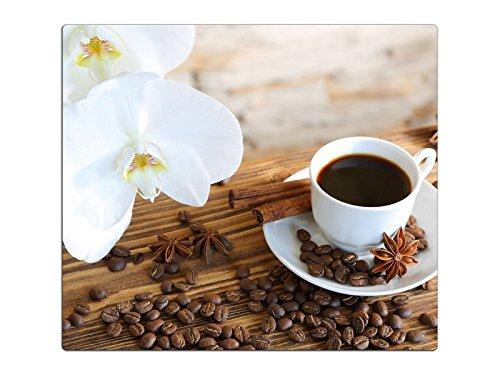 Herdabdeckplatte Schneidebrett Spritzschutz aus Glas, Multi-Talent HA63333767 Orchidee Kaffee Variante Einteilig (1 Panel)