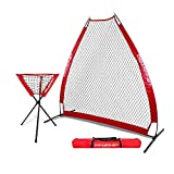 PowerNet 7 Foot Portable Pitching Screen A-Frame + Ball Caddy Bundle | Baseball Pitcher Protection | Instant Player and Coach Protector | Heavy Duty Netting | Batting Practice | Team Color Red