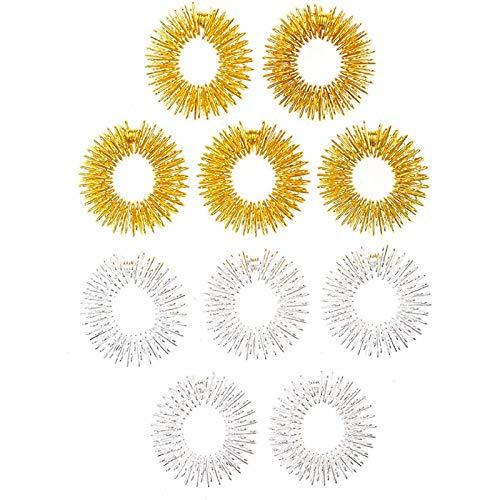 NAIHEN 10 Stück Massage Ring Stachelig Sensorische Fingerringe, Stachelig Finger Ring/Akupressur Ring Set für Jugendliche, Erwachsene, Leise Stress Reduzierer und Massager (Gold, Silber)