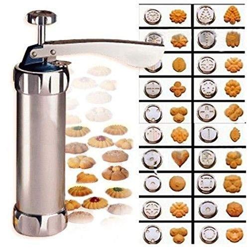 Cookie Press Maker Kit for DIY Biscuit Maker and Decoration with 20 Stainless Steel Cookie discs and 4 nozzles