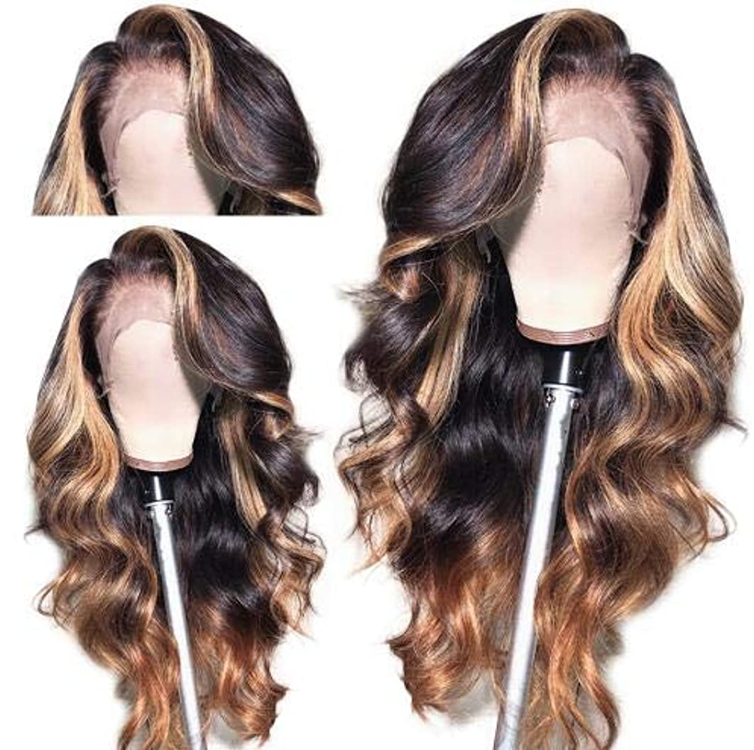 QUINLUX WIGS Body Wave Blonde Brown 1BT27 Color 13X4 Lace Front Deep Part Human Hair Wig 150% Density Natural Hairline with Baby Hair for Black Women