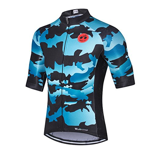 Hotlion Maillot de ciclismo para hombre, hombre, camiseta de carreras, cómoda, súper transpirable y de secado rápido, cremallera reflectante, 3 bolsillos