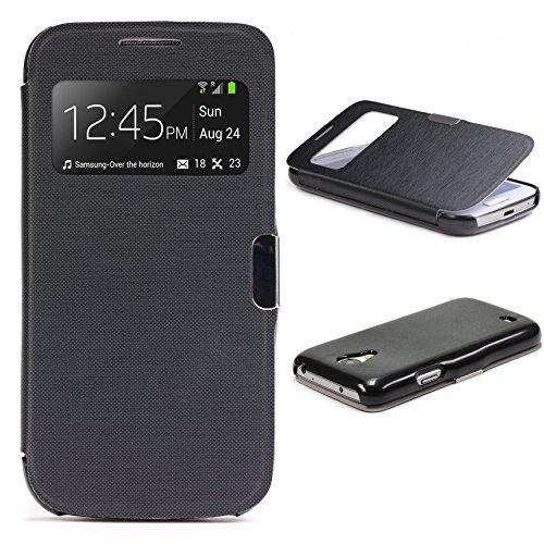 Urcover® View Case Handy Schutz-Hülle | Kompatibel mit Samsung Galaxy S4 Mini | Hart Kunststoff Schwarz | Elegant Wallet Cover Sicht-Fenster | leichte Schale dünne Tasche