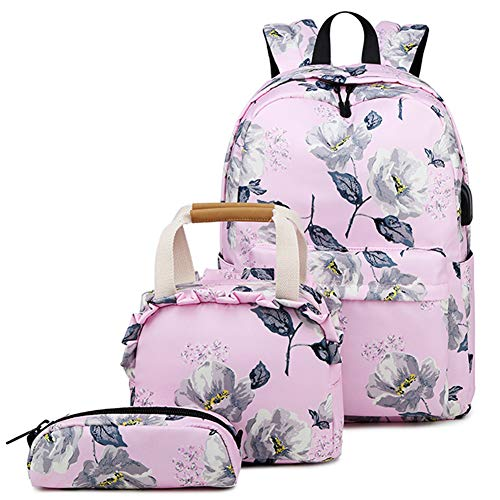 Zokrintz Floral Teen Girls Travel Laptop Backpack School Bookbag Set with Lunch Bag and Pencil Case