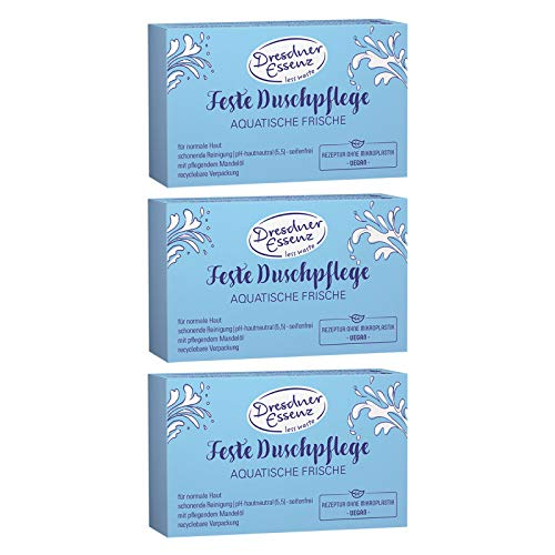 3er Pack Dresdner Essenz Feste Duschpflege seifenfrei Aquatische Frische 3 x 100 g, Duschbad, Pflegedusche