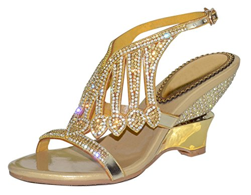 Honeystore Damen's Handgemacht Schichten Strass Keil Absatz Sandalen Gold 41 EU