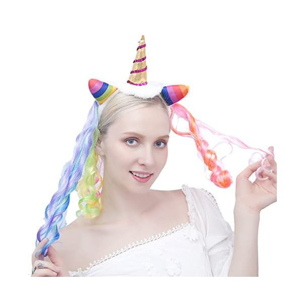 Felizhouse Rainbow Unicorn Wig For Girls Kids Birthday Cosplay Wig Headband for Party Costumes Accessories 7