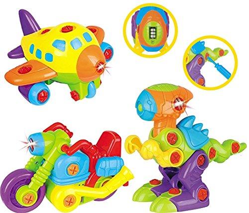Set di Giocattoli Smontabili per Bambini TG651 – 3 Giocattoli in 1 per Bambini, con Luci e Suoni; Aeroplano; Dinosauro; Motocicletta prodotto da ThinkGizmos (Marchio Protetto).