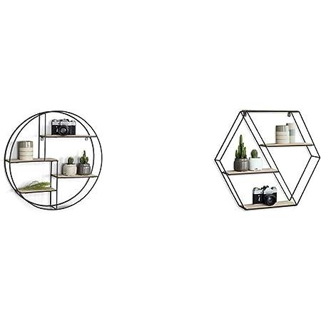 LIFA LIVING Estantería de Pared Redonda de Madera y Metal Negro + Living - Estantería Hexagonal de Pared (Madera, Montaje en Negro