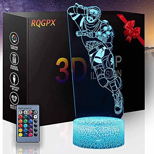 3D noche luz APEX Legends R LED lámpara de ilusión óptica 16 colores cambio automático interruptor táctil con control remoto para regalos