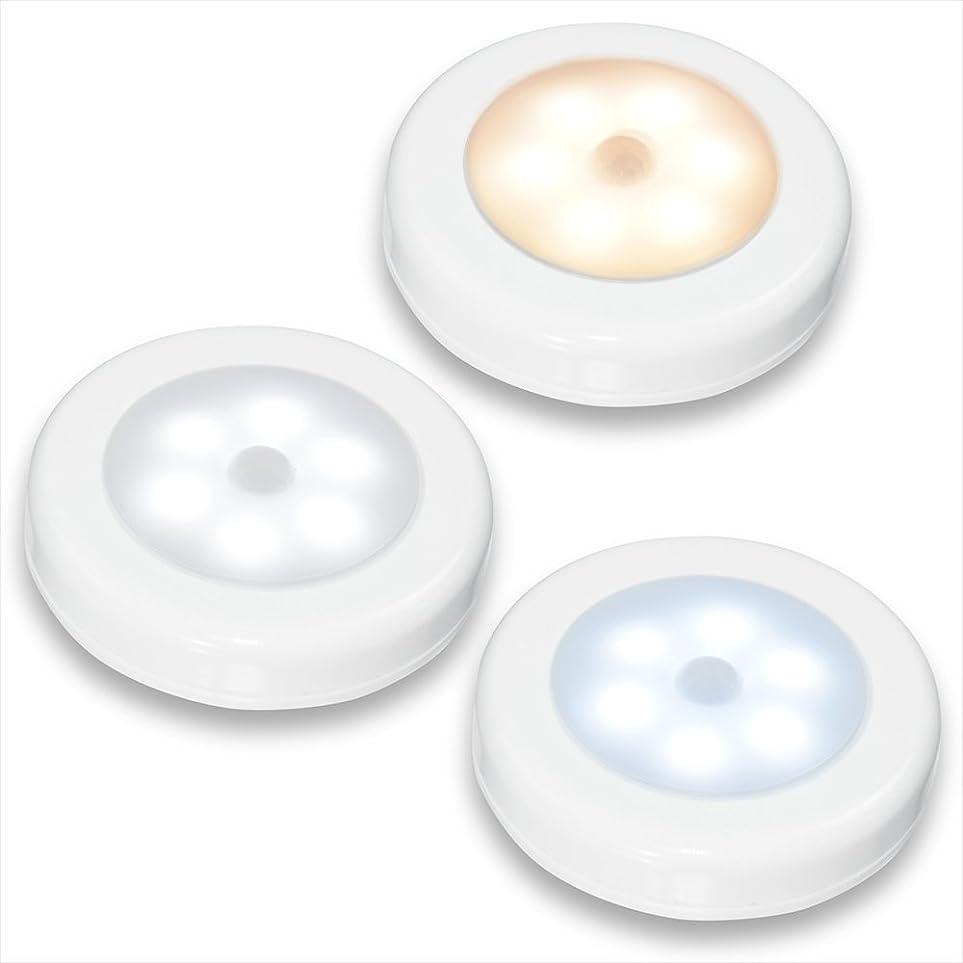アーティファクト取り替えるハドル小型 ポータブル人感センサーライト 1個 お試し 簡易包装版 6灯LED 電池式 マグネット付き/白