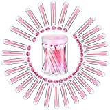30 Pieces Disposable Eyebrow Brushes with Tubes Mascara Wand Tube Brushes Eyelash Mascara Brushes Diamond Eyelash Tubes with Transparent Cylinder Packaging for Women Girls Makeup (Pink)