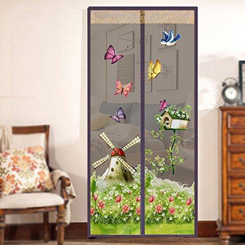 Netz-Türvorhang, Fliegengitter Tür mit magnetischem Schnapp- und Windmühlen-Muster, einfache Installation ohne Bohren Moskitonetz, braun, 90x210cm