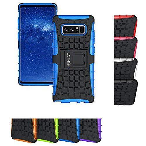 HLCT Schutzhülle für Samsung Galaxy Note 8 mit Standfunktion, doppellagig, stoßfest, mit integriertem Ständer, Small, blau