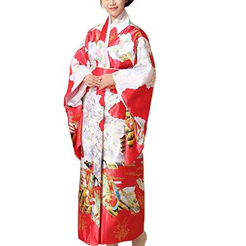 Kimono japonés impreso Floral Yukata Cosplay Ladies Party ropa de dormir, C