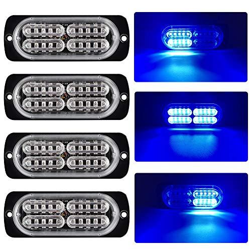yifengshun 4x 20 azul Luz estroboscopica Flash LED Estroboscópica Luz de Luces de Advertencia 12-24V Camion Luces para Remolque Furgoneta