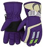 7-Mi Kinder Winter warm wasserdicht Handschuhe für Skifahren/Snowboarden/Radfahren/Reiten Outdoor-Aktivitäten Kinder Handschuhe am besten für 3 to 5 Jahre alt lila