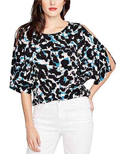 RACHEL Rachel Roy Printed Cold-Shoulder Top (Blush Combo, XL)