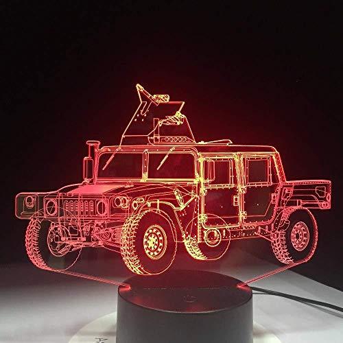 3D Illusion Nachtlicht Bluetooth Smart Control 7 & 16M Farbe Mobile App Led Vision kleine militärische LKW Form Tisch Methacrylat Platte Handwerk Innovative ed Kinder USB Acryl