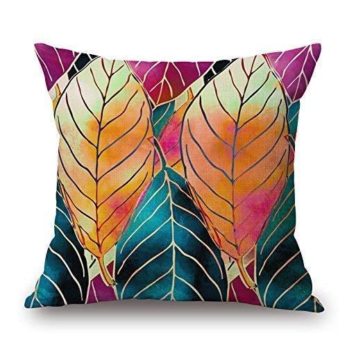 KJDFH Funda de almohada, diseño de árbol y flores y pájaros de algodón, decoración de sofá, 45,7 x 45,7 cm, color 6