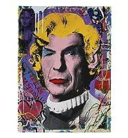 家の装飾壁画フレームレスキャンバスプリントカラフルな壁アートクラシックセレブチャップリン男の肖像グラフィティアートポスターモダンヴィンテージポップアートバンクシー写真の装飾,Zs,60×90cm