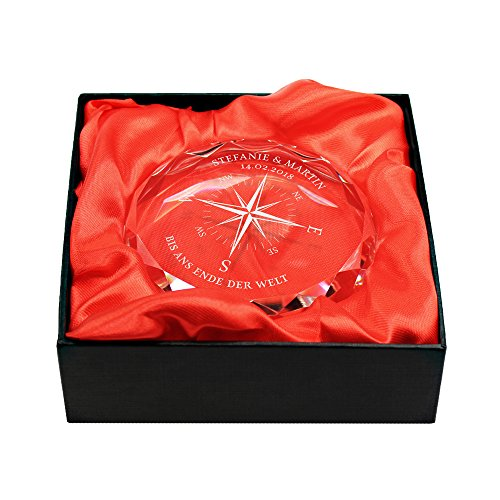 Gravado Briefbeschwerer aus Glas mit Personalisierter Kompass Gravur, Namen und Datum, Geschenkidee für Liebespaare