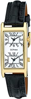 Gotham Men's Gold-Tone Dual Time Zone Leather Strap Watch # GWC15090GW
