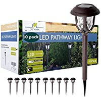 10-Pack ExcMark Solar Pathway Lights (Brown, Warm White)