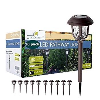 10 Pack Solar Lights Outdoor Decorative Solar Pathway Lights Outdoor Solar Powered Garden Yard Lights for Walkway Sidewalk Driveway  Brown Warm White