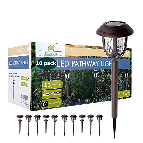 10 Pack Solar Lights Outdoor Decorative, Solar Pathway Lights Outdoor, Solar Powered Garden Yard Lights for Walkway Sidewalk Driveway (Cool White, 10 Pack)