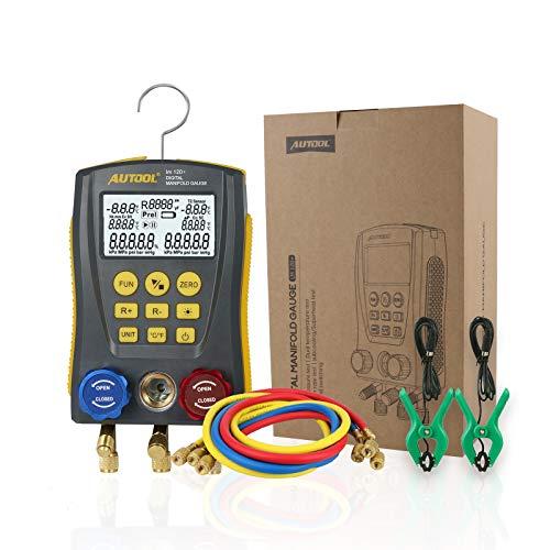 Autool lm120+ Kältetester, digital, Messgerät für HVAC, Vakuum, Drucktemperatur, Leckage-Test mit Testclip und Schlauch