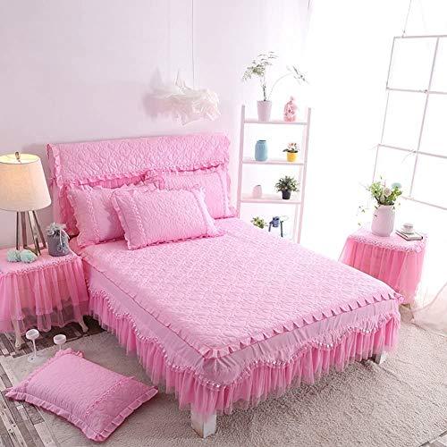 ZXYY Beddrok met ruches op poeder, sprei van katoen, sprei van kant, 17 cm (7 inch), druppelvorm, decoratief voor slaapkamer, B 200 x 220 cm (79 x 87 inch)