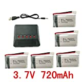 sea jump Lipo Battery Charger + 5Pcs 3.7V 720mAh Battery 5 in 1for Syma X5C X5C-1 X5A X5 X5SC X5SW H5C V931